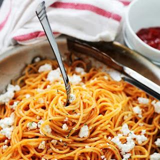 Garlic Pasta with Ketchup and Feta.