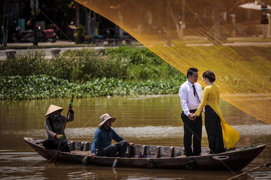 Ho Ain_20150329_12.08.06 by . Reedd2 - People Street & Candids ( ho ain, vietnamese fishing nets, wedding, couple, vietnam, boat, bride & groom, river )