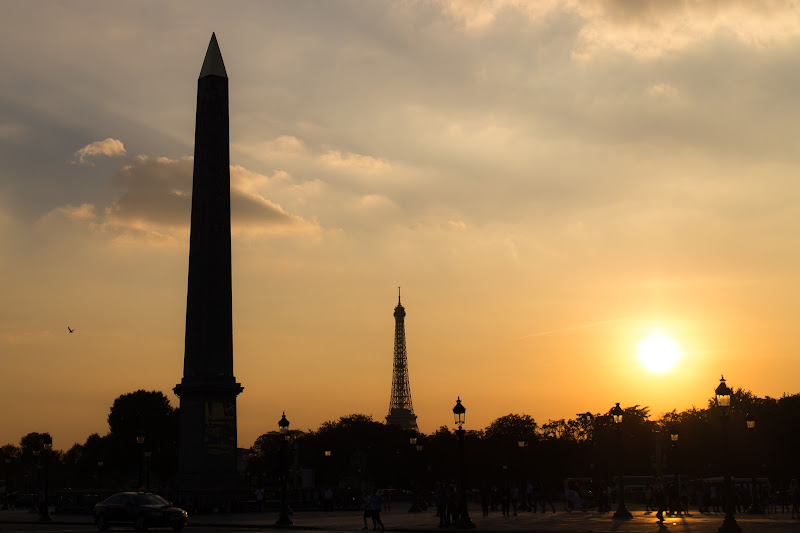 Photo: Obelisk of Luxor and Eiffel Tower at Sunset