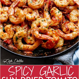 Spicy Garlic Sun Dried Tomato Shrimp.