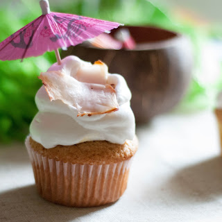 Pina Colada Cupcakes with Fresh Coconut