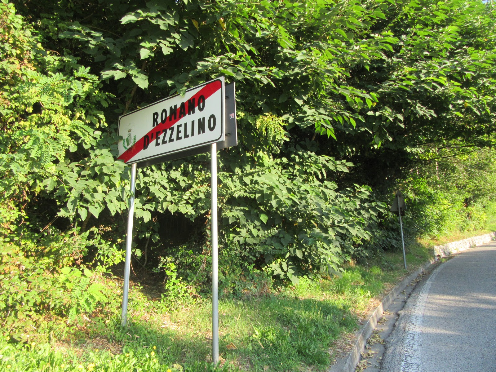 Bike climb of Monte Grappa from Romano d'Ezzilino - leaving Romano d'Ezzilino sign.