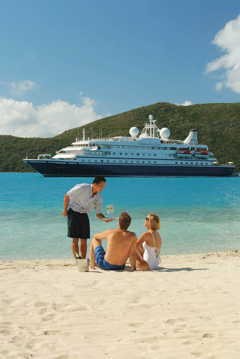 Seadream-beach-service.jpg - You, a beach, and impeccable service, courtesy of SeaDream Yacht Club cruises.