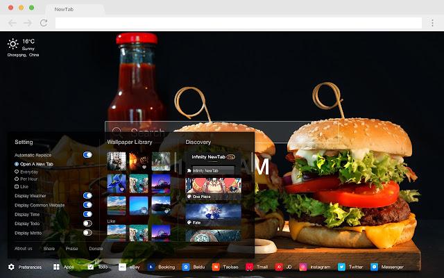 漢堡包 火爆美食 高清壁紙 新標籤頁 主題