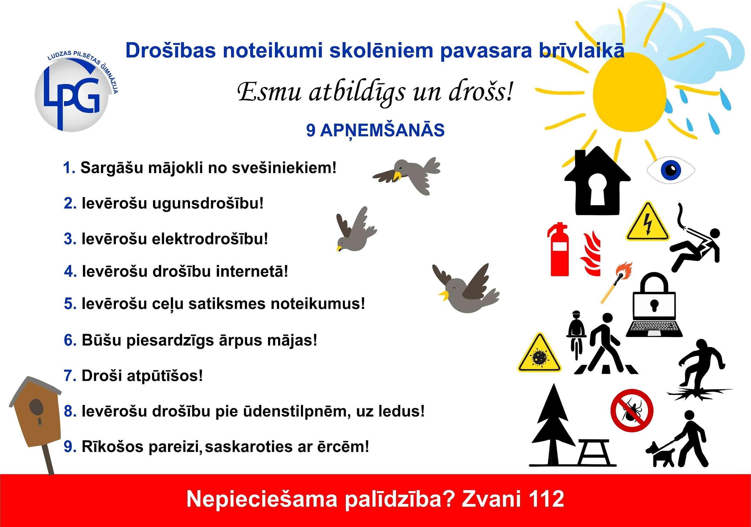 Uzskaitīti drošības noteikumi skolēniem pavasara brīvlaikā