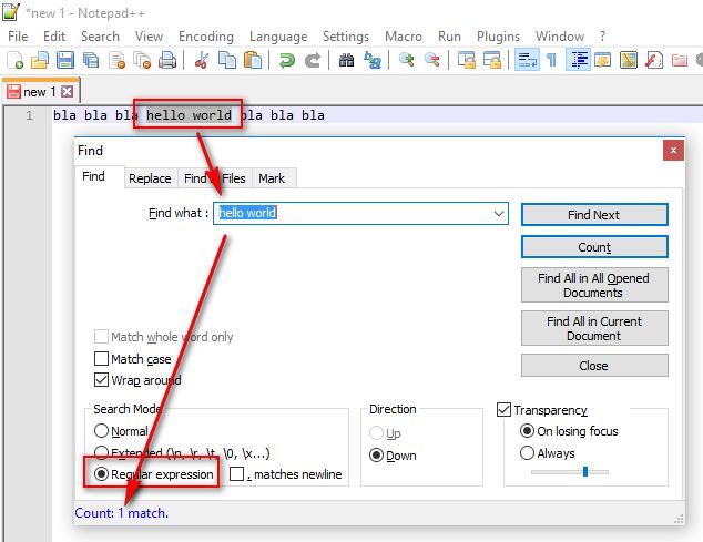 notepad++ regex simple