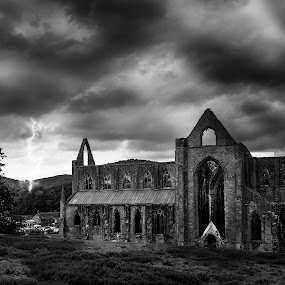 Tintern Abbey, Wales by Robert Little - Buildings & Architecture Decaying & Abandoned ( canon, lightening, tintern abbey, wales, black and white, 500px.com, storm, historic )