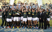 Players of South Africa lift the Rugby Championship 2019 Trophy after winning a match between Argentina and South Africa as part of The Rugby Championship 2019 at Padre Ernesto Martearena Stadium on August 10, 2019 in Salta, Argentina.