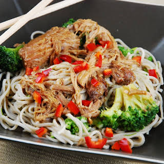 Slow Cooker Asian Chicken and Noodles with Broccoli.