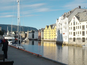 Photo: Alesund harbor. The town was devastated by the Nazis and rebuilt in Art Nouveau style.