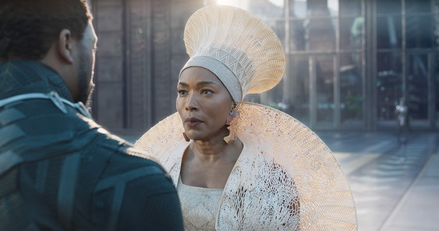 Angela Bassett as Queen Ramonda With Another Julia Koerner Headdress - This One in White (Photo supplied by Julia Koerner)
