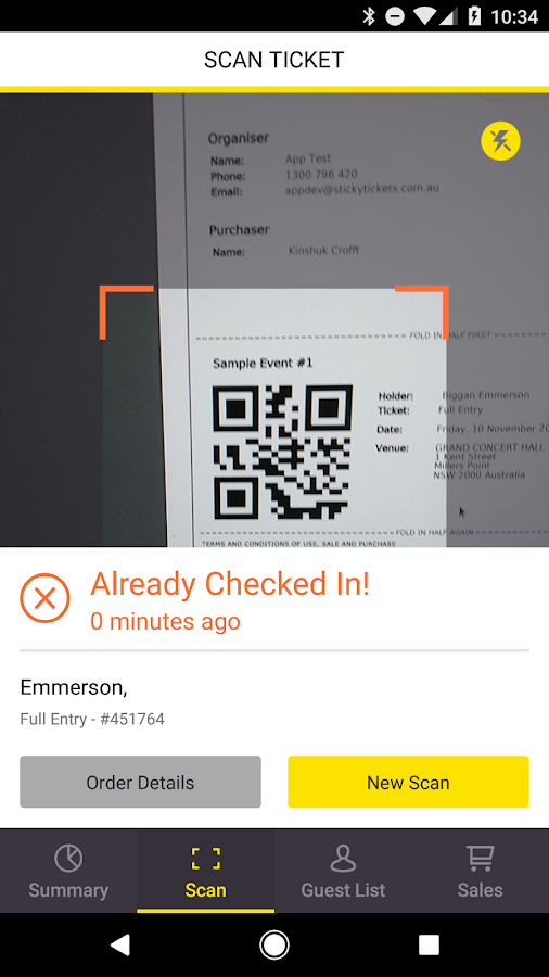 Sticky Tickets Checkin- screenshot