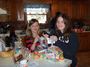 Photo: Kassie & Kylee putting tags on the kare kits. January 2013.