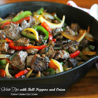 Sauteed Sirloin Tips With Bell Peppers And Onion.