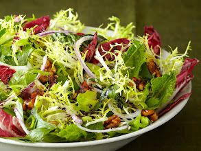 Photo: Red-and-Green Salad: Less really is more in this salad of mixed lettuce, scallions, red onion and candied walnuts. Get this recipe >> http://ow.ly/aIomP
