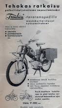 Photo: Tunturi Tavaramopedi 59. Harvinainen malli etutarakalla, isolla takatarakalla, sivulaukuilla ja jäykällä rungolla.