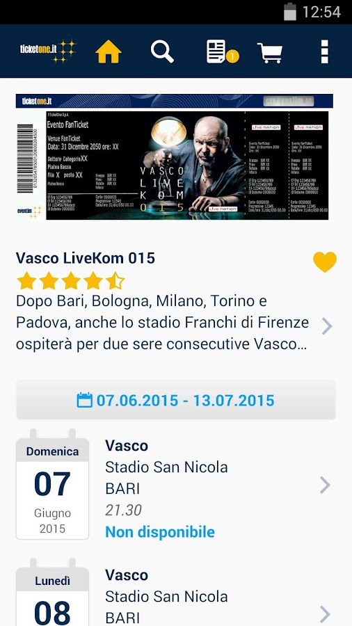 TicketOne.it - screenshot