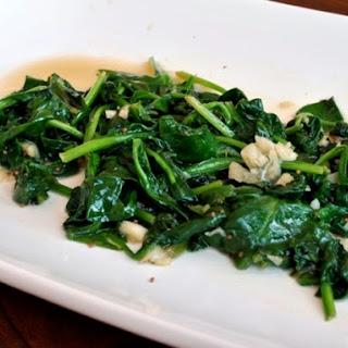 Stir Fried Garlic Spinach with Mustard Seeds.