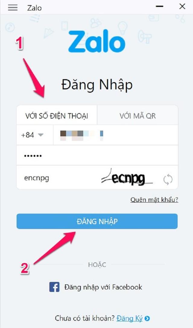 Cách đăng nhập zalo trên máy tính thông qua số điện thoại và mật khẩu