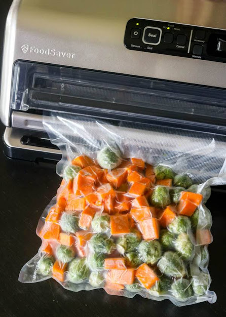 Foodsaver vacuum sealed bag with vegetables