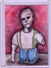 Photo: The Quarter Man (Dick Hilburn). Sideshow Stars No.9. 2 ½ in x 3 ½ in. Acrylic paint and ink on 110 lb. acid-free paper. Signed on the front; title and signature on the back. Sealed with a matte finish. Comes in a clear plastic top-loader. ©Marisol McKee