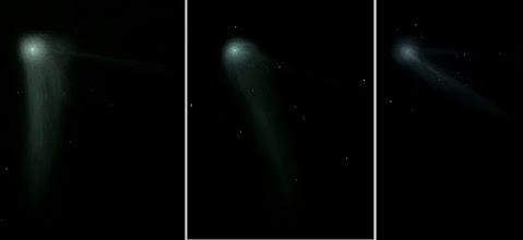 Photo: Les 3 dessins de Catalina montrant l'évolution de la comète, dans l'ordre chronologique de gauche à droite : 17 janvier, 2 février, 16 février 2016.