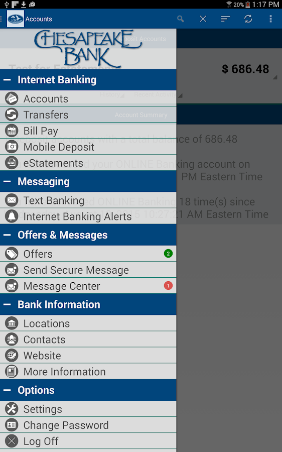 Chesapeake Bank Mobile Banking- screenshot