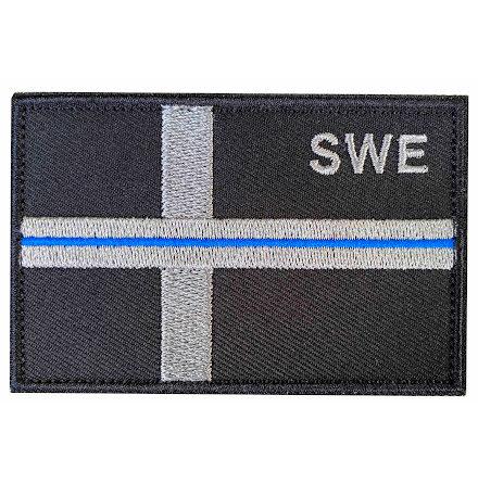 Svensk Flagga SWE med blå linje och kardborre