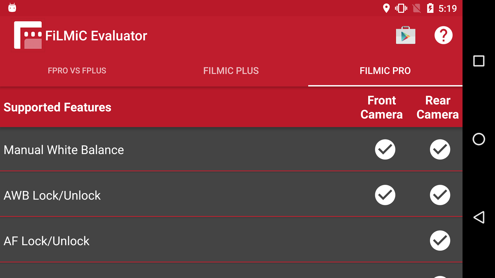 FiLMiC Evaluator- screenshot