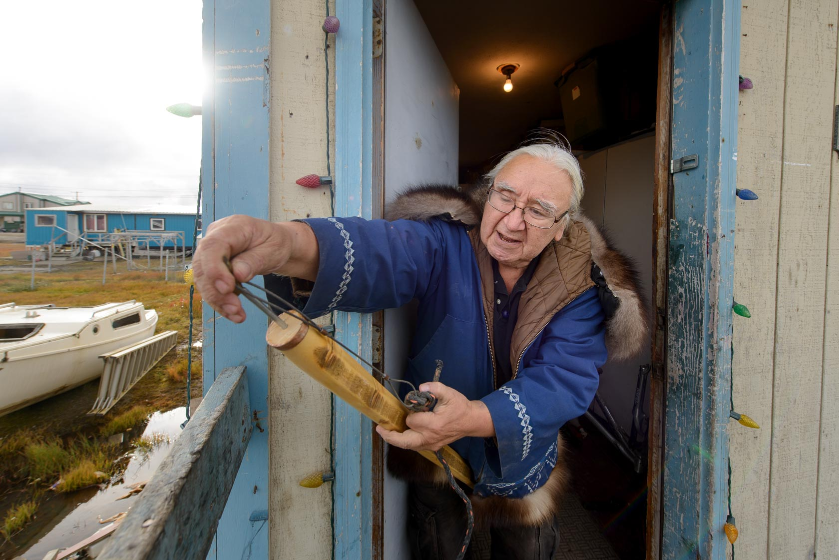 George with harpoon, Barrow, Alaska for Der Spiegel