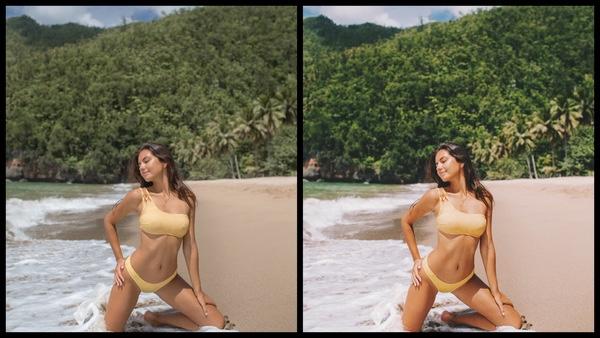 Montagem de duas fotos usando a mesma mulher posando na praia. Foto 1 sem edições e foto 2 usando o Filtro Sedona