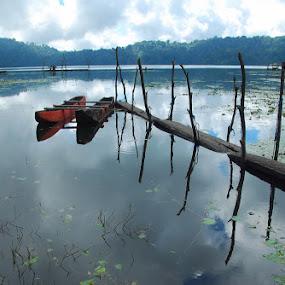 Last Boat To Go by Yande Ardana - Landscapes Travel ( temple, bali, lake, sunrise, tamblingan )