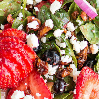 Mixed Berry Salad With Strawberry Balsamic Vinaigrette Dressing.