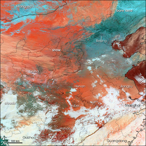 NASA公布中国雪灾卫星图