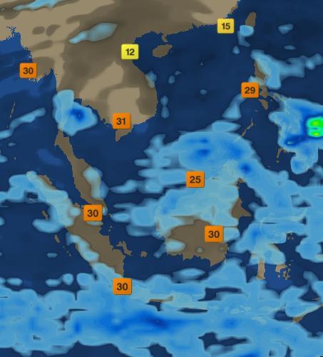 2008年2月份东南亚气温分布图