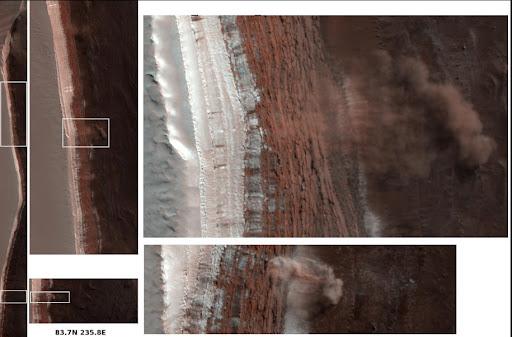 美飞行器拍摄到火星北极附近区域山崩照片(图)