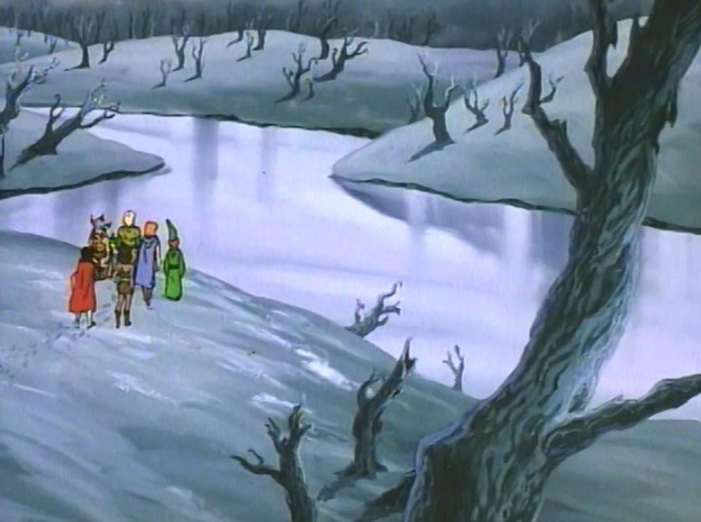 Party overlooking frozen river