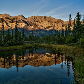 Liquid Mirror by Peter Luxem - Landscapes Mountains & Hills ( reflection, mountain, canada, miette range, pwcreflections, jasper, pond )