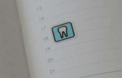 歯医者シール スケジュール帳に貼ってみました