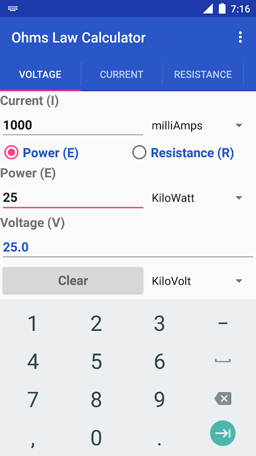 Ohms Law Calculator- screenshot