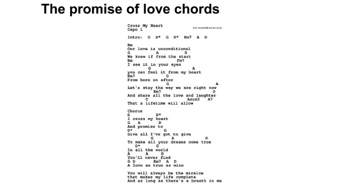The promise of love chords - Google Docs
