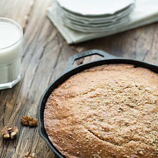 Banana Bread with Walnuts & Dates in Cast Iron Skillet.