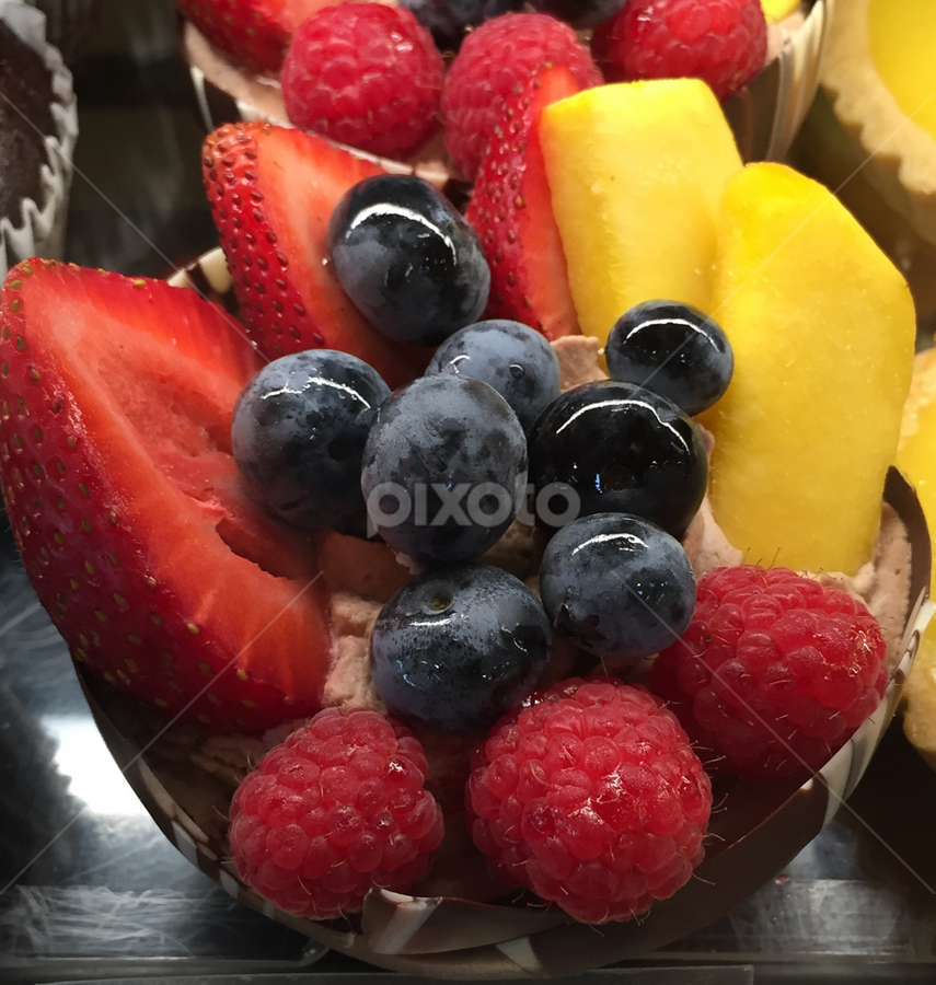 Fruits on Chocolate Cream Cup by Lope Piamonte Jr - Food & Drink Candy & Dessert