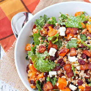 Farro Salad with Butternut Squash, Bacon, and Cranberries.
