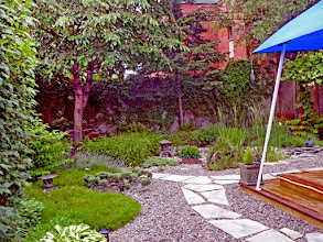 Photo: Stepping stones and gravel mulch add to the Japanese feel of this landscape.