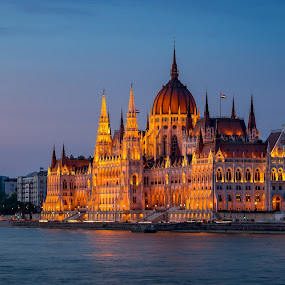 Hungarian Parliament Building in Blue Hour by Mick McKean - Buildings & Architecture Public & Historical ( hungary, building, budapest, night photography, blue hour, travel, architecture, landscape, travel photography, nightscape,  )