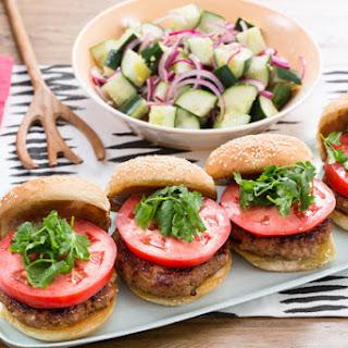 Hoisin Pork Burgers with Marinated Cucumber & Red Onion Salad