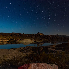 Meteor over the Desert by Fred Bartholomew - Landscapes Starscapes ( reflection, desert, meteor, star, rock, landscape, astronomy, deserted, astro, arizona, shower, night, long exposure, astrophotography, river )