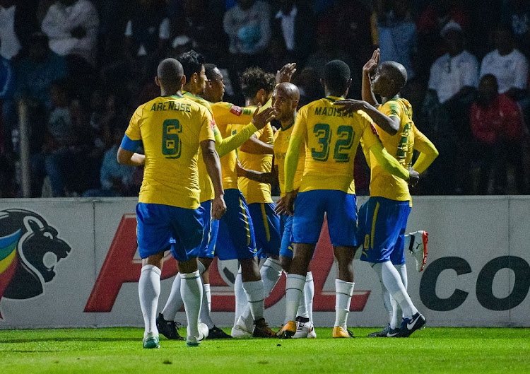 Mamelodi Sundowns celebrating their goal during the Absa Premiership 2017/18 game between Free State Stars and Mamelodi Sundowns at Goble Park, Bethlehem on 11 September 2017.