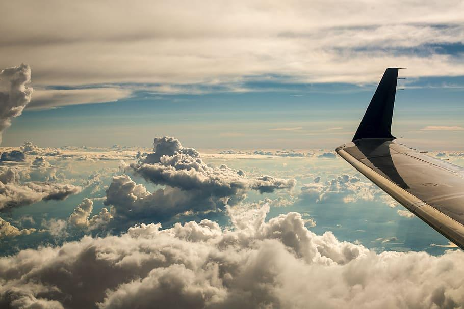 Clouds From Aircraft Window Photo, Travel, Sky, Trip, Earth, Plane, HD wallpaper